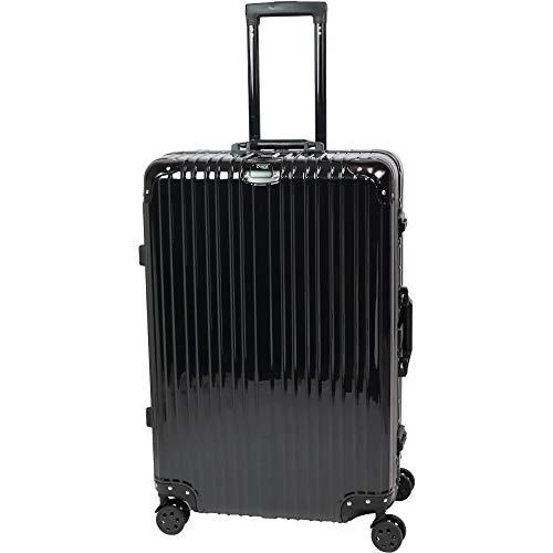 スーツケース キャリーケース キャリーバッグ アルミフレーム TSAロック 軽量 静音 ダブルキャスター 4輪タイヤ トランク 旅行かばん 旅行 出張 帰省 ビジネス 海外旅行 Lサイズ Sサイズ 【】 (L 80L, ブラック 黒)