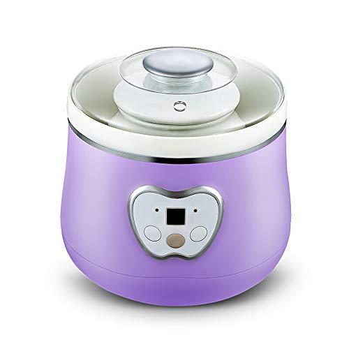 FxsD Yogurt Maker Spesso Robusto Corpo Honey Pot White Porcelain Liner Speciale Guarnizione in Silicone Antiscivolo Rilievo del Piede del Yogurt Macchina Facile da spostare (Color : Purple)