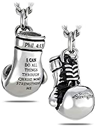 Men's Stainless Steel Boxing Glove Necklace Product Overview