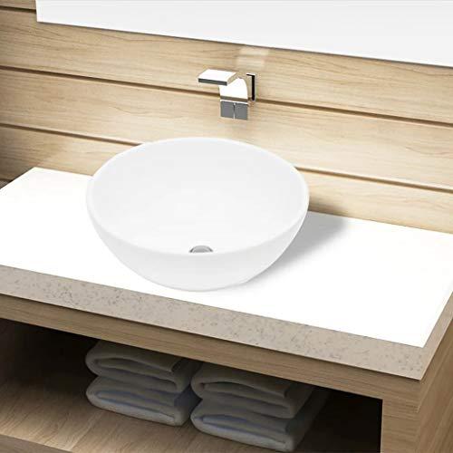 Festnight Keramik Waschbecken Rund ? 325mm | Aufsatzwaschbecken mit Hahnloch | Handwaschbecken Waschschale Wei? 325 x 140 mm (? x H)