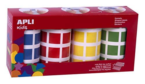 Appli Kids 18326, 4 Rollen, quadratisch, 4 Farben, Blau, Rot, Gelb und Grün, 20 x 20 mm