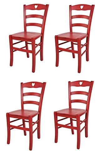 t m c s Tommychairs - Set 4 sillas Cuore para Cocina y Comedor, Estructura en Madera de Haya Color anilina roja y Asiento en Madera