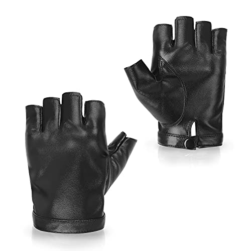 Fingerless PU Faux Leather Driving Gloves, Outdoor Sport Black Half Finger Gloves for Women Men Teens