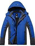 GEMYSE wasserdichte Skijacke für Herren Winddichte Fleece Outdoor-Winterjacke mit Kapuze (Himmelblau Grau,L)