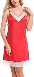 ملابس نوم Hotouch للنساء من الدانتيل الحريري قميص استراحة كامل لون أحمر مقاس XL