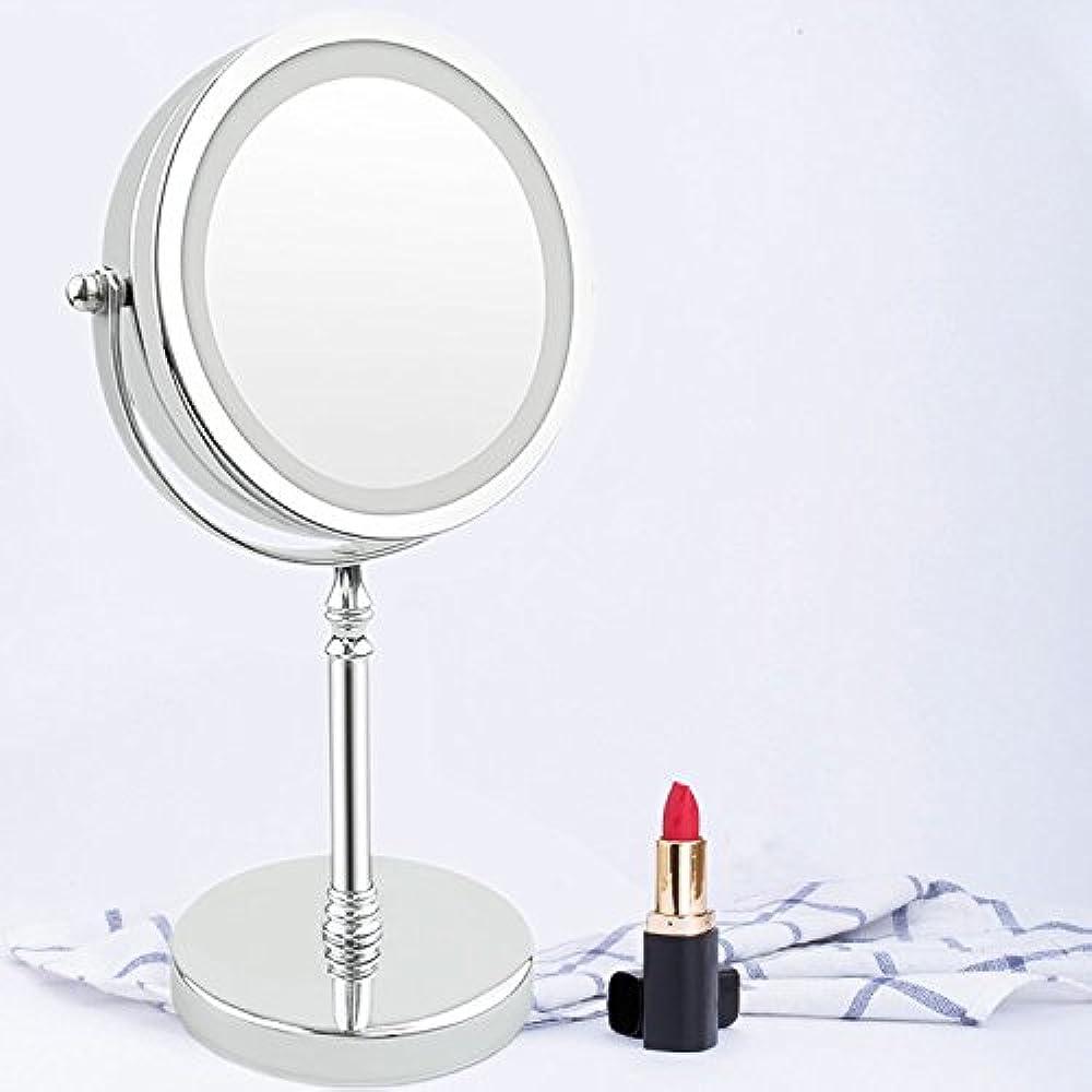 ミシン相談神のLED卓上化粧鏡 卓上鏡 ライト付き化粧鏡 10倍拡大鏡 等倍鏡 両面型化粧鏡 360度回転式 スタンドミラー ライティングミラー 女優ミラー
