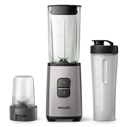 Philips HR2605/81 Daily Collection Mini Blender with On-The-Go Tumbler and Multi Chopper, Plastic, 350 W, Oyster Metallic