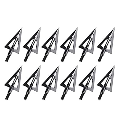 Feyachi Hunting Broadheads 12 Pack Fixed Blade Broad Head 100 Grain Archery Arrow Tips for Crossbow and Compound Bow