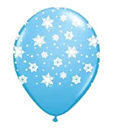 (12) Latex Balloon with Falling White Snowflakes