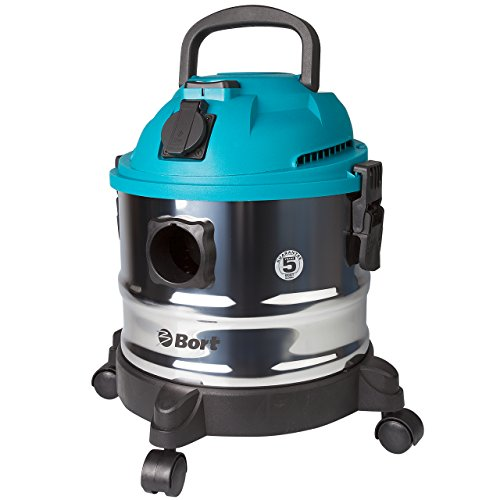Bort BSS-1015 - Nass- und Trockensauger (1250 Watt) mit 15 Liter Behältervolumen, Luftstrom 58 l/s, Saugleistung 20 kpa, Saugschlauch 35 mm, 1.5 m, Staubsauger für Nassreinigung
