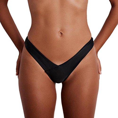 Huihong Frauen Tanga Sommer Sexy Bikini Unterteile V Badehose String Hohe Taille Strand Baden Badeanzug Bademode G String Unterwäsche Baden Tanga (Schwarz, S)