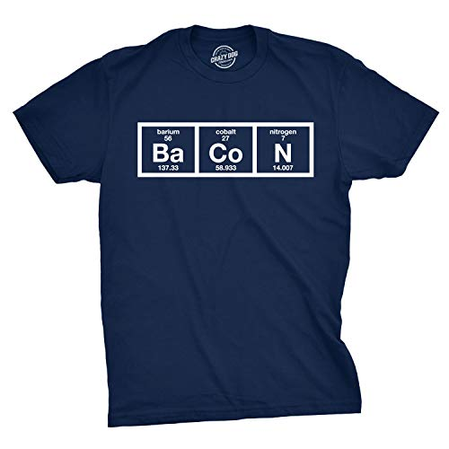Mens The Chemistry of Bacon T Shirt Funny Nerdy Graphic Periodic Table Science (Navy) - M