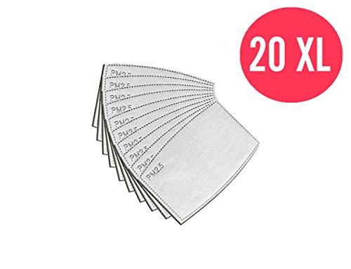 20 Filtros PM2.5 reemplazables y reutilizables, filtros para mascarillas, 5 capas de filtro de carbón activado para cubrir la cara, antivaho, antipolvo, anticontaminación y protector de la salud
