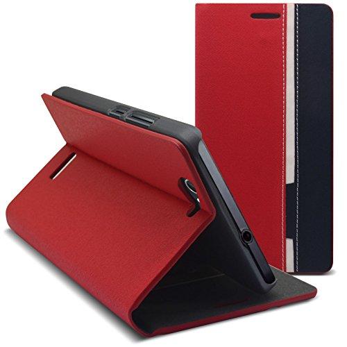 Caseink - Schale Etui Folio Wiko Getaway Monaco Design Rot/Blau