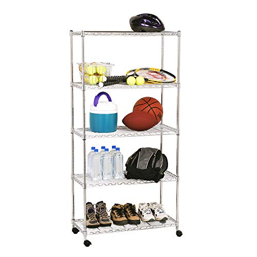 """Seville Classics 5-Tier Wire Shelving with Wheels, 30"""" W x 14"""" D, Plated Steel"""