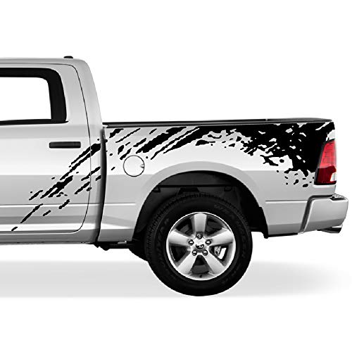 Bubbles Designs Off-Road Bed Splash Kit Decal Graphic Vinyl Compatible with Dodge Ram 2009-2017 (Black)