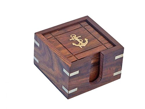 Photo of a rose wood and brass colored Hampton Rosewood Anchor Coasters