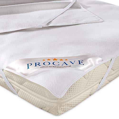 PROCAVE Molton-Matratzenschoner in weiß, Matratzen-Auflage aus 100% Baumwolle, hochwertige Moltonauflage als Matratzenschutz, Premium Qualität Made in Germany 140x210 cm