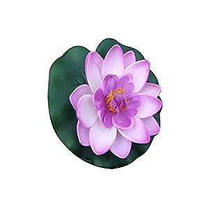 Silk Flower Arrangements LAPUTA Artificial Flower 1Pc Simulation Lotus Flower Mini Artificial Pond DIY Home Garden Wedding Office Fish Tank Decoration Light Purple