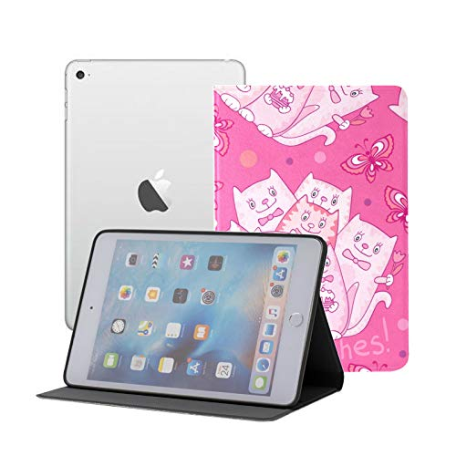 Ipad Mini Case Pattern Cats On Pink Case for Ipad Mini 3/2/1,Ultra Slim Lightweight Smart Case Cover Stand with Flexible Soft TPU Back Cover[auto Sleep/Wake]