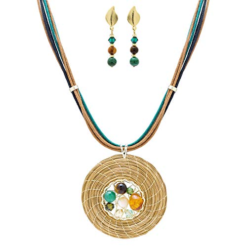 Conjunto Collar Dorado en Oro Vegetal con Piedras, Cristales Swarovski y Pendientes (Verde)