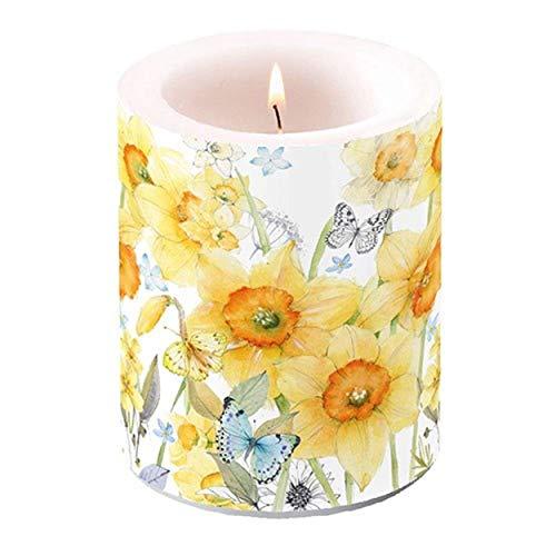 Ambiente - Luxury Paper Products Stumpenkerze 'Daffodils' Osterglocken 10x12cm Kerze Tischdeko Kerzendeko Küche Deko Frühling Ostern