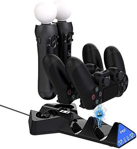 EEEKit Chargeur de contrôleur PS4 Station d'accueil de Chargement pour Manette de Jeu 4 en 1 avec câble USB pour Sony Playstation4 / PS4 / PS4 Slim / PS4 Pro/PS Move Game Handle