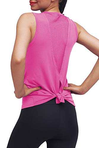 Mippo Workout Clothes for Women Sexy Open Back Yoga Tops Mesh Tie Back Muscle Tank Workout Shirts Sleeveless Cute Fitness Active Tank Tops Comfort Sports Gym Clothes Fashion 2020 Fuchsia S