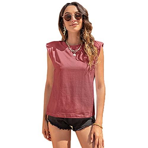 Vrouwen ronde hals casual eenvoudige mode effen kleur mouwloos schouder ondersteuning schouder pad vest T-shirt - roze - 5XL