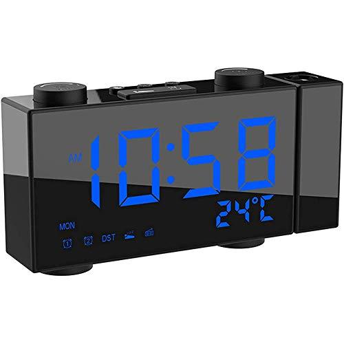 TUIHJA Radio Reloj Despertador de ProyeccióN, Reloj de Pared en el Techo con Radio FM, Proyector de 180 °, Cargador USB, Temporizador de Apagado, Enchufe y BateríA de Respaldo