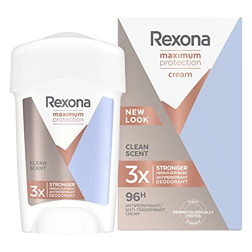Rexona Women Maximum Protection Clean Scent Reise-Deo-Creme (mit TRIsolid-Technologie: Sorgt für maximalen Schutz vor Achselnässe), 1 x 45ml