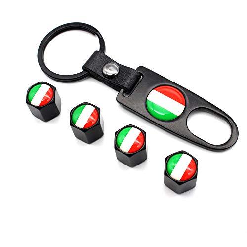 5 Unids/set Antirrobo Rueda de Neumático de Coche Vástagos de Válvula Estilo de Bandera de Italia Tapas de Aire Con Hebilla de Cuero Llave de Aleación de Zinc