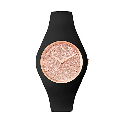Ice-Watch - ICE glitter Black Rose-Gold - Schwarze Damenuhr mit Silikonarmband - 001353 (Medium)