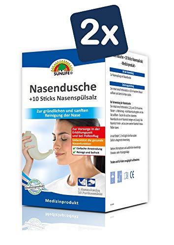 SUNLIFE Nasendusche und Nasenspülsalz: effektive Nasenreinigung für eine freie Nase, Kanne + 10 Portionssticks à 2,25g - 2er Pack
