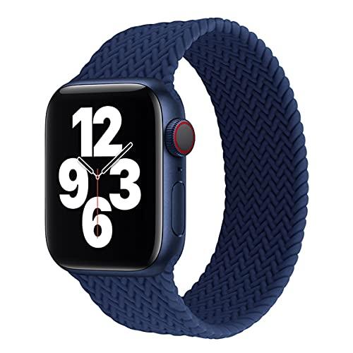 Voshion Solo Loop de silicona para Apple Watch Band 44 mm, 40 mm, 38 mm, 42 mm, textura trenzada elástica, correa de silicona iWatch Series 3, 4, 5, 6 se (42 mm o 44 mm), azul atlántico