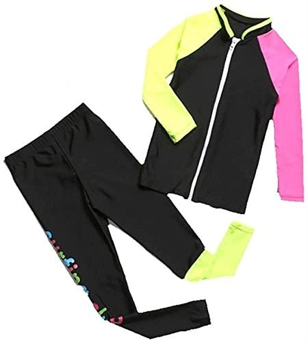 Traje de neopreno Moda Traje de buceo infantil traje de baño manga larga pantalones protección solar uv cálido split split traje niños térmico (Color : A, Size : S)