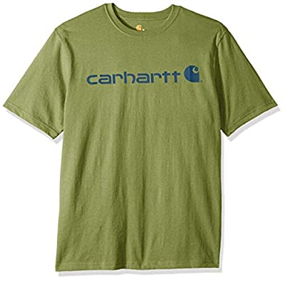 Carhartt Men's Signature Logo Short Sleeve Midweight Jersey T-Shirt K195, 371-Oil Green Heather, Large