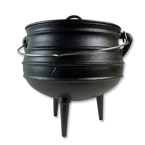 Potjie - Südafrikanischer Kochtopf aus Gusseisen, Dutch Oven, Hexenkessel mit 3 Beinen (Pot 4 (ca. 12 Liter))