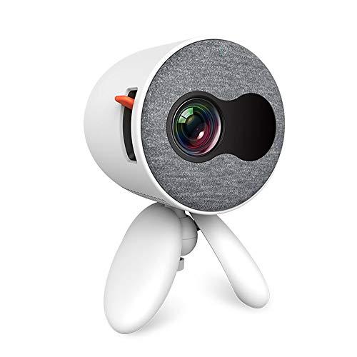 Mini Projector Portable diffuse reflectie Imaging 1080P HD Picture Ratio kan worden aangepast met 3 in 1 AV-kabel en luidsprekers Ideaal voor Home Entertainment Party Games,White