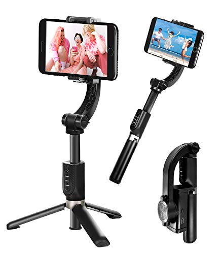 Waoops Gimbal Stabilizer for Smartphone with Bluetooth Wireless Remote 360° Rotation Auto Balance Foldable 1-Axis Handheld Gimbal Selfie Stick with Tripod Stand for iPhone Android YouTube TikTok