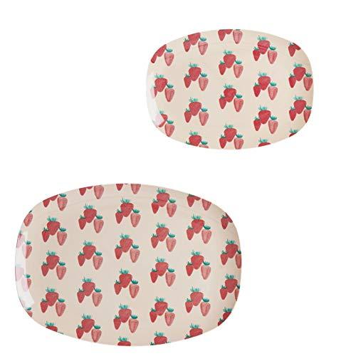 Rice Geschirr-Set, 2-teilig, Teller und Dessertteller aus Melamin, Motiv Erdbeeren, Farbe: Rosa/Rot