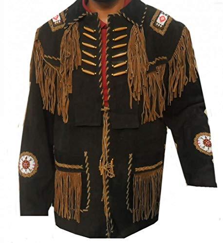 Vipconnection Western Cowboy - Chaqueta de Piel de Ante con Flecos para Hombre - Negro - L Pecho 107/112 cm