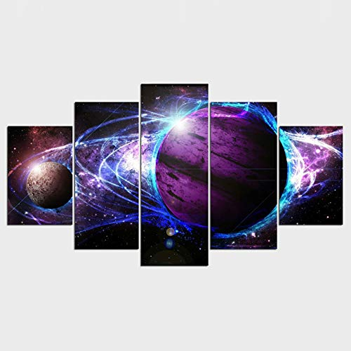 FGVBWE4R Kunstdrucke Modular Leinwand Bilder Rahmen Modern 5 Stück Universum Lila Planet Gemälde Dekor Home Wohnzimmer Wand HD Poster-XXL
