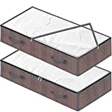 Punemi Under Bed Storage,2 Pack Large Clothes Storage Bags Organzier Container with 2 Handles and Dual Zippers,Thick Bamboo Linen Cloth Folding Blanket Storage Box with Clear Window,41.5x17.8x5.5in