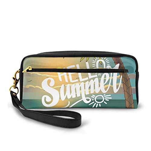 Estuche pequeño de piel sintética, con palmera y silla ilustración con estampado de caligrafía Hello Summer