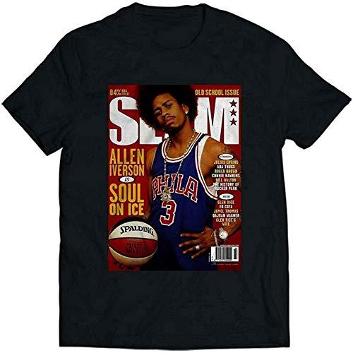 N/N Allen Iverson Slam Cover - Camiseta para hombre y mujer Negro...