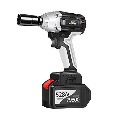 TTLIFE Llave de impacto inalámbrica Max 21V 1/2'Chuck MAX Torque 380N.m con cargador rápido Potente kit de llave de impacto con luz LED y caja de herramientas