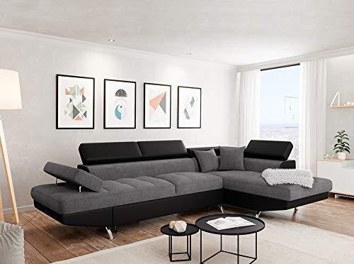 Canapé d'angle 2 places Noir Microfibre Panoramique