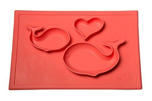 Smith's Happy Mat - Silikon Platzdeckchen + Teller aus einem Stück (Koralle) + GRATIS Smith's Raupe Silikon Löffel (EVP: €4,68)