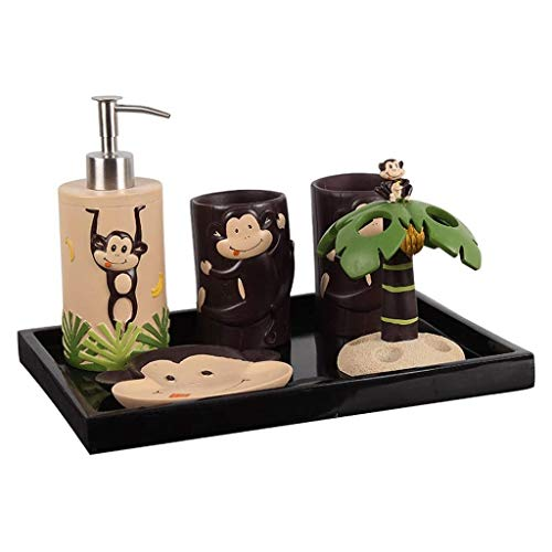 xiaokeai Soap Bottles Cute Monkey 5pcs Bathroom Accessories Set - with Toothbrush Holder Soap Dispenser Soap and Lotion Distributor Tumbler Cup Lotion dispensers